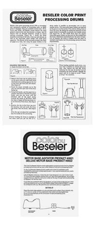 Instructions for Beseler Print Processing Drums and Motor Base Agitators