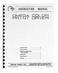 Instruction Manual for the Omega Color Print Dryer