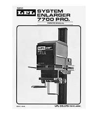 LPL 7700 6x7 Condenser Enlarger Instruction Manual