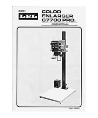 LPL 7700 6x7 Dichroic Colour Enlarger Instruction Manual