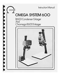 Omega B-600 / B600 Enlarger Instruction Manual with parts lists