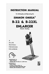 Omega B-22 / B22 Enlarger Instruction Manual & parts list