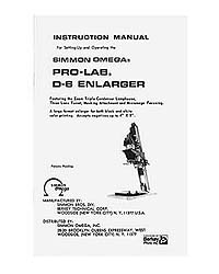Omega D6 / ProLab D-6 4x5 Enlarger Instruction Manual