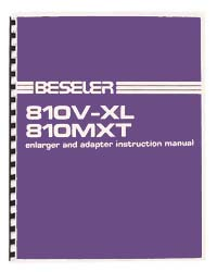 Beseler 810V-XL / 810MXT Enlarger Instruction Manual