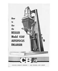 Beseler 45AF Autofocus 4x5 Enlarger Instruction Manual