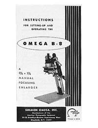 Omega B-8 / B8 Enlarger Instruction Manual with parts list