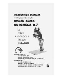 Omega B-7 Automega B7 Enlarger Instruction Manual with parts list.
