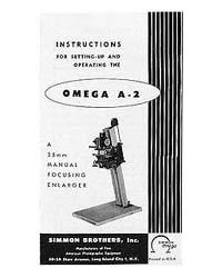 Simmon Omega A2 / A-2 Enlarger Instruction Manual