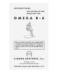 Simmon Omega B-6 / B6 Enlarger Instruction Manual