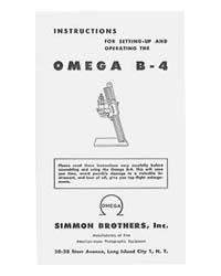 Simmon Omega B-4 / B4 Enlarger Instruction Manual