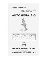 Simmon Omega B-5 Automega B5 Enlarger Instruction Manual
