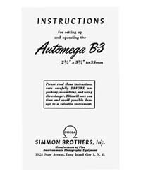 Simmon Omega B-3 Automega B3 Enlarger Instruction Manual