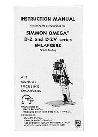 Omega D-2 / D2V 4x5 Enlarger Manual