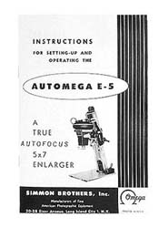 Omega E-5 5x7 Autofocus Enlarger Instruction Manual