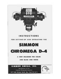 Omega D-4 Autofocus 4x5 Color Enlarger Manual with parts list
