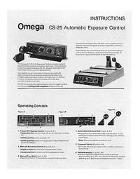 Omega CS-25 Auto Exposure Control Instruction Manual