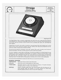 Omega #461-022 Program Timer Instruction Manual